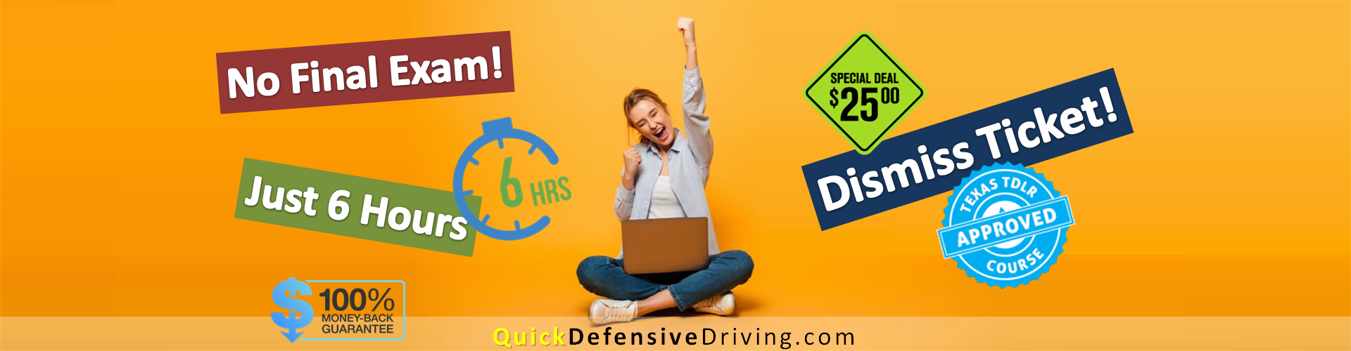 Quick Defensive Driving - Dismiss Tickets - No Final Exam - BBB A - CP018-C3245 Texas Licensed