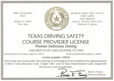 Texas Driving Safety Course Provider License - Texas Defensive Driving Online Education - CP018